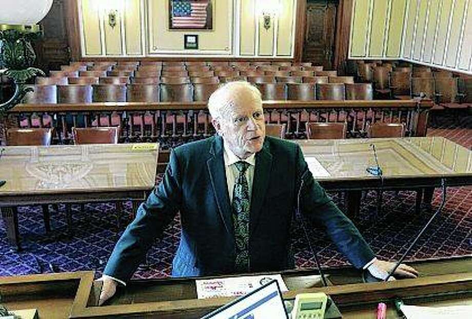 DeKalb County Judge William Brady talks in his courtroom about what being a judge means to him. Brady retired at the end of June after 16 years as a judge and 45 years of practicing law. Photo: Mark Busch | Northwest Herald (AP)