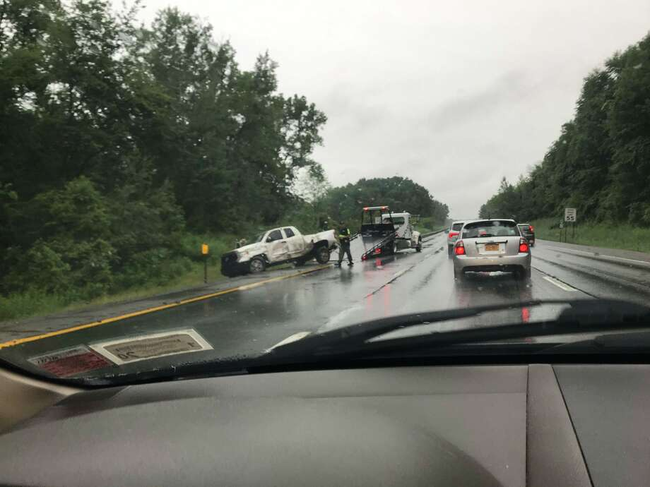 A crash on the Northway just north of the Twin Bridges is causing vehicles to back up on the southbound side of the highway. Photo: Sara Tracey / Times Union