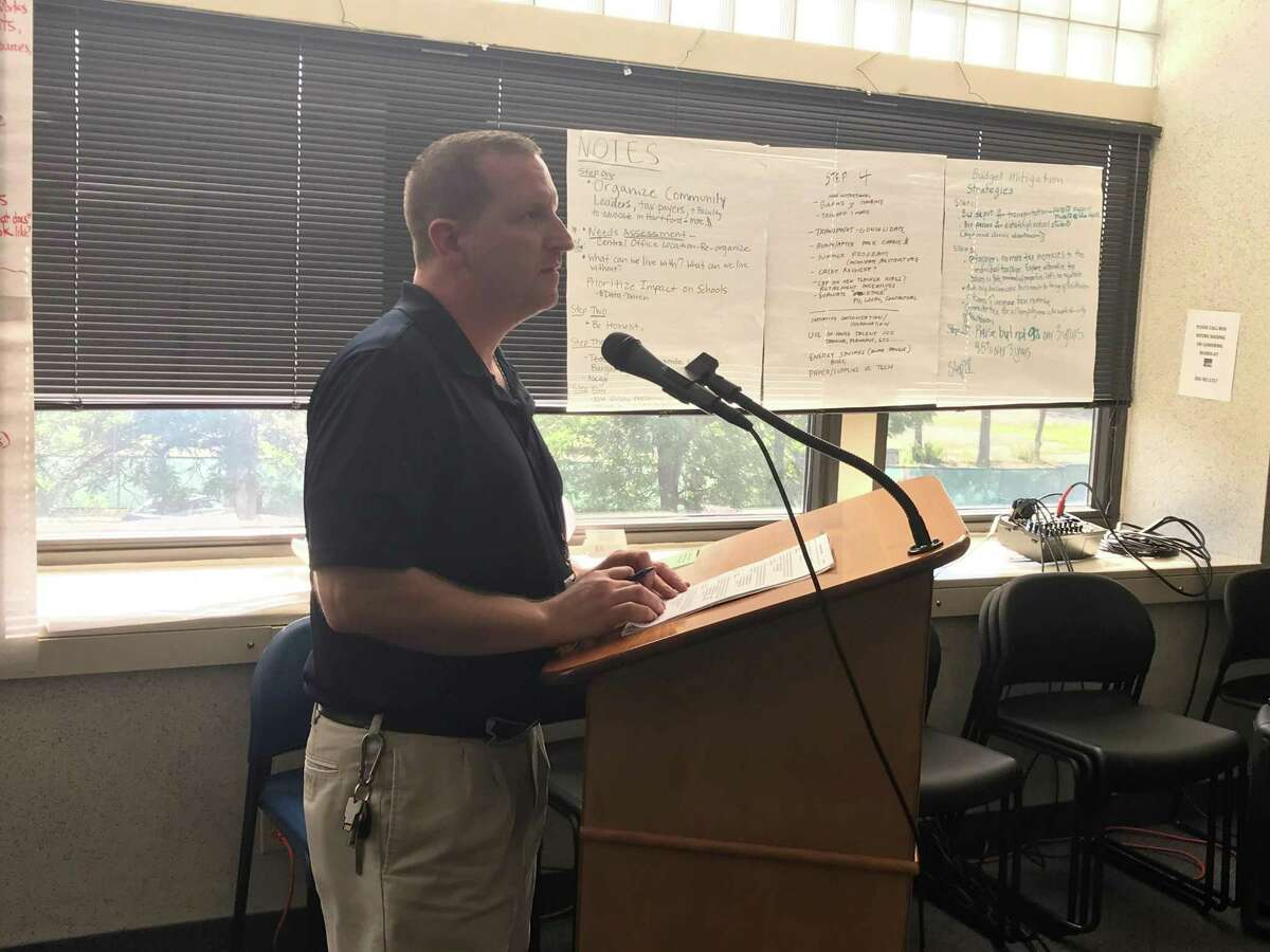 Kevin Moriarty, the director of IT for New Haven Public Schools, speaks at a Finance and Operations Committee meeting on July 15, 2019.