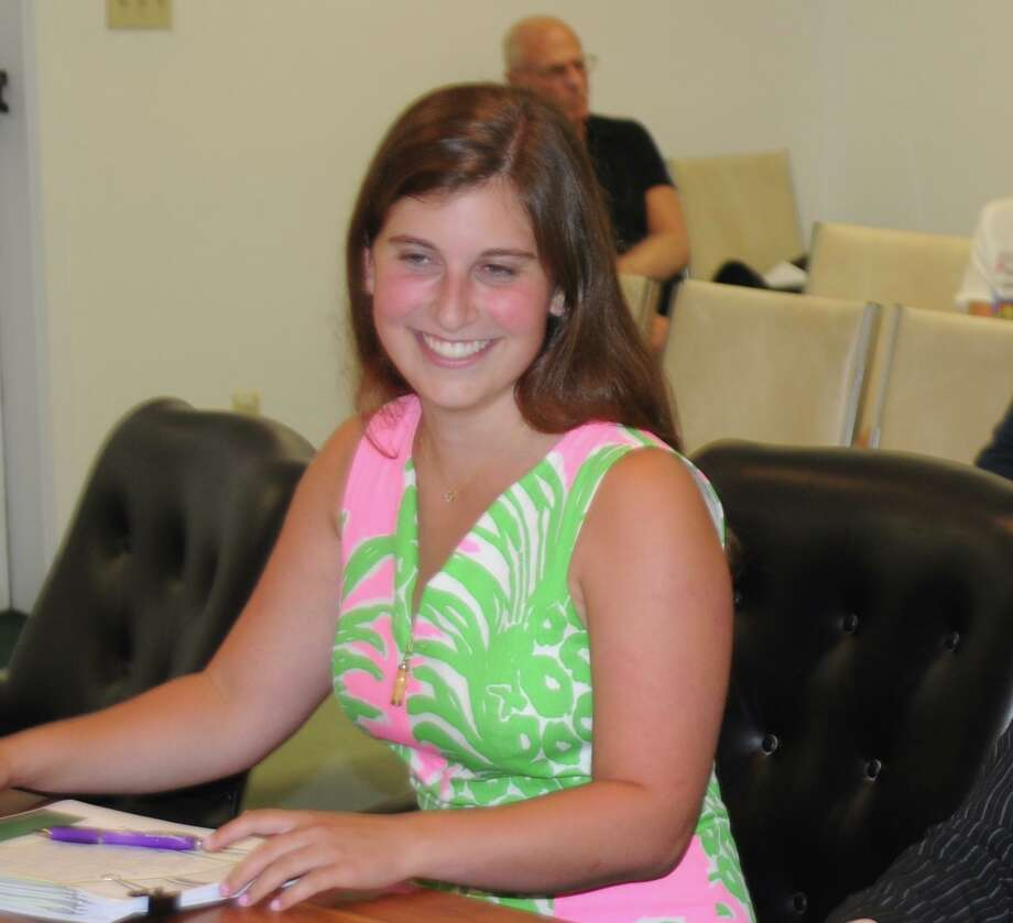 Jennifer Kramer, a student intern at town hall, researched possibilities for a second community garden in town, and presented a report at the July 17 selectmen's meeting. Photo: Macklin Reid / Hearst Connecticut Media