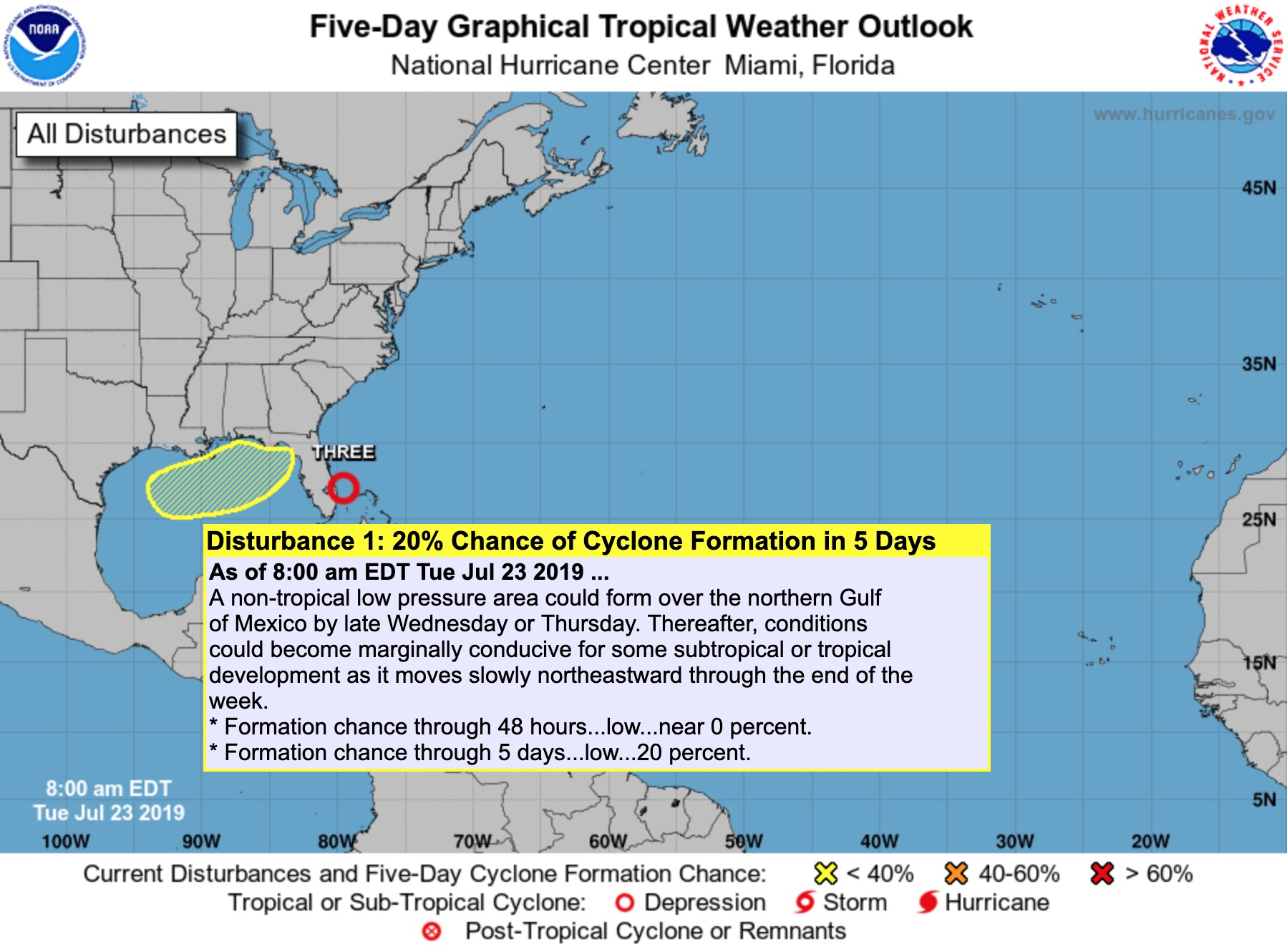Hurricane center issues low chances for Gulf storm development - San