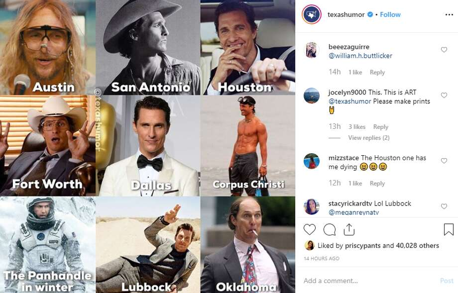 The Instagram account for Texas Humor, @TexasHumor, shared this meme of actor Matthew McConaughey representing some of the state's biggest cities. Photo: @texashumor Instagram Screencrab