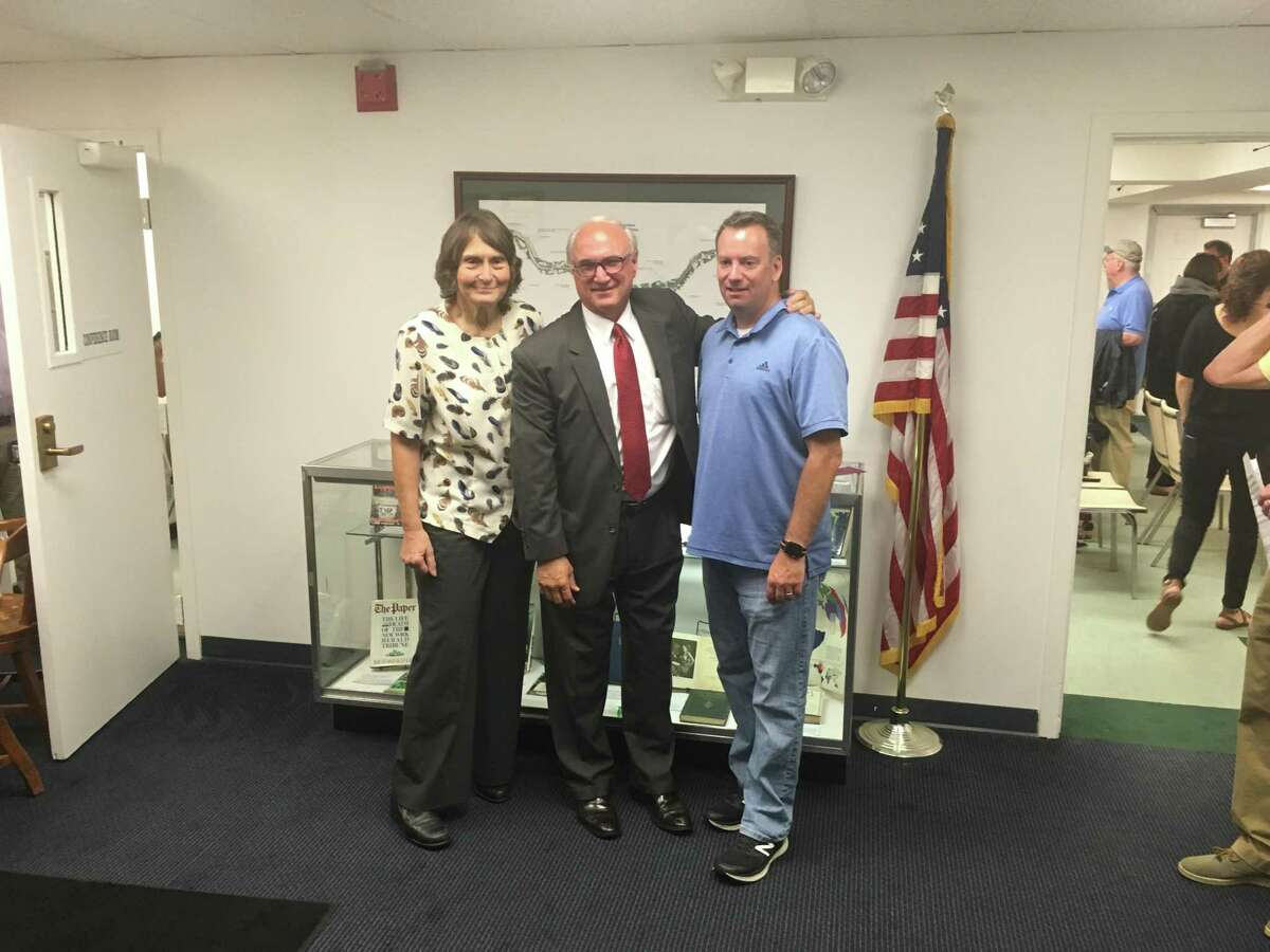 From left to right: Selectwoman Barbara Manners, First Selectman Rudy Marconi, and Board of Finance member Sean Connelly. The Ridgefield Democratic Town Committee nominated all three for Board of Selectmen at its caucus Monday, July 22.