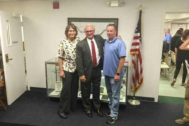 Ridgefield Democrats' nominees for the Board of Selectmen, from left to right: Selectwoman Barbara Manners, First Selectman Rudy Marconi, and Sean Connelly, currently a member of the Board of Finance. All three were nominated unopposed Monday, July 22.