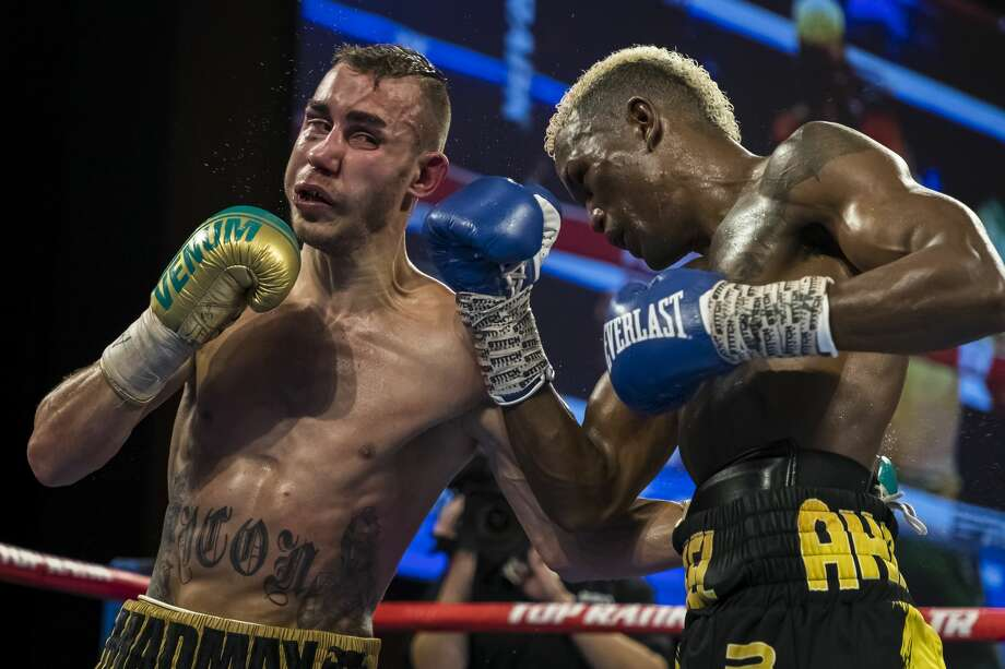OXON HILL, MD - JULY 19: Subriel Matias and Maxim Dadashev in action during the tenth round of their junior welterweight IBF World Title Elimination fight at The Theater at MGM National Harbor on July 19, 2019 in Oxon Hill, Maryland. (Photo by Scott Taetsch/Getty Images) Photo: Scott Taetsch/Getty Images