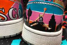 San Antonio artist Dima Martinez has been customizing sneakers, jean jackets and other items with city-inspired pride. His collection includes designs honoring the Spurs, Selena and other local favorites.