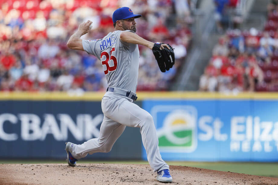 Chicago Cubs starting pitcher Cole Hamels throws during the first inning of the team's baseball game against the Cincinnati Reds, Friday, June 28, 2019, in Cincinnati. (AP Photo/John Minchillo) Photo: Associated Press