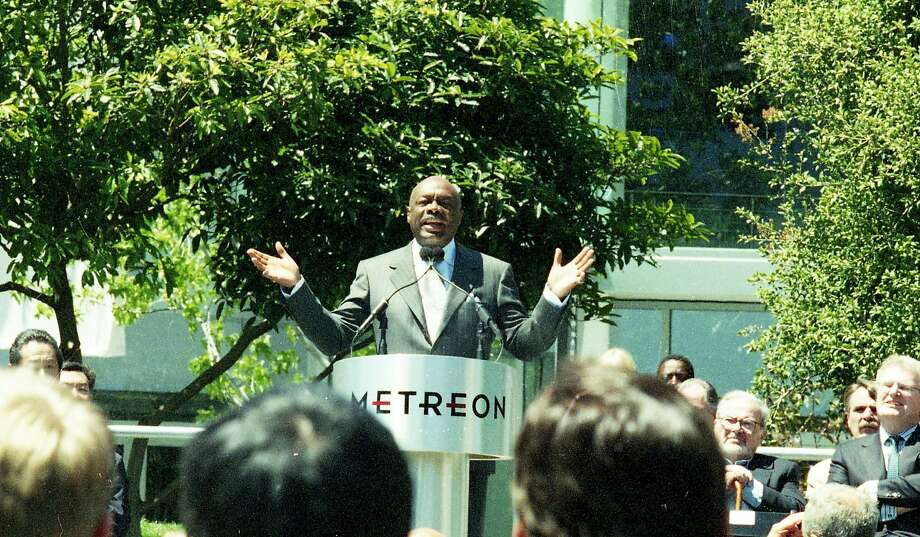 June 16, 1999: Mayor Willie Brown speaks before the opening of the new Sony Metreon entertainment complex in San Francisco. Photo: Frederic Larson / The Chronicle 1999