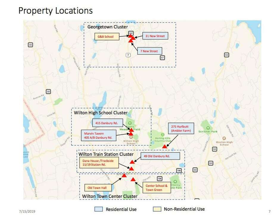 Diagram from the Real Estate Study Committee's report showing the location of the town properties it reviewed. Photo: Contributed Photo / / Wilton Bulletin Contributed