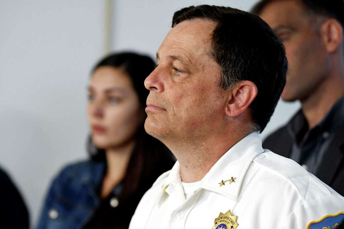 Chief Peter Volkmann of the Chatham, N.Y. Police Department listens to the announcement of the new Schenectady Cares Program which will allow addicts, even those who arrive with drugs on them, to ask officers for help with addiction at a press conference on Tuesday, July 23, 2019, in Schenectady, N.Y. Chatham, N.Y. implemented a similar Police Assisted Addiction and Recovery Initiative (PAARI) in 2016 and has had a 100% success rate in the program. (Catherine Rafferty/Times Union)