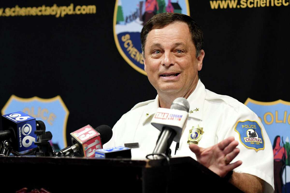 Chief Peter Volkmann of the Chatham, N.Y. Police Department listens to the announcement of the new Schenectady Cares Program which will allow addicts, even those who arrive with drugs on them, to ask officers for help with addiction at a press conference on Tuesday, July 23, 2019, in Schenectady, N.Y. Volkmann himself is a person of long term recovery. When asked about the future of programs like this in the Capital Region, he answered, ?'I pray everydayÉ just one more police department, I pray.?