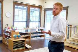 Head of School Chris Gillaspie, head of school for The Grove community school, talks about the new Montessori-based school opening in August on Red Bird Lane, Tuesday, July 23, 2019, in Conroe.