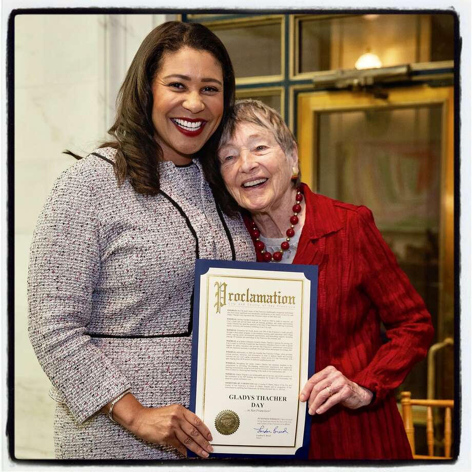 Mayor London Breed (left) honors Enterprise for Youth founder Glady Thacher. July 11, 2019. Photo: Drew Altizer / Drew Altizer Photography