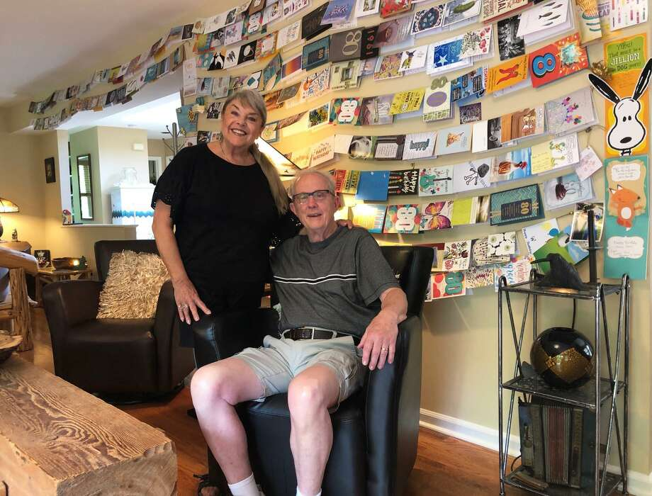 Vivien Cheeseman coordinated a birthday card surprise for her husband John, who turned 80 last month. He received more than 300 cards from friends and family. Photo: Deborah Rose / Hearst Connecticut Media / The News-Times  / Spectrum