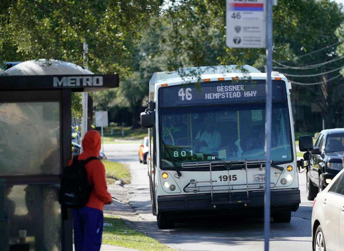 A Metropolitan Transit Authority Route 46 bus travels along Gessner near Westheimer on Jan. 9.