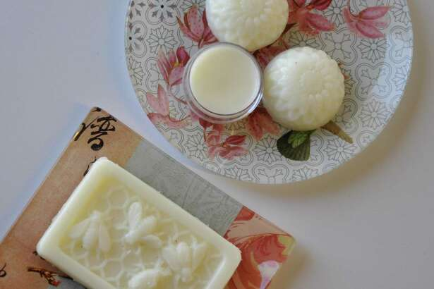 Lotion bars and lip balm made from shea butter, beeswax, essential oils and sweet almond oil.