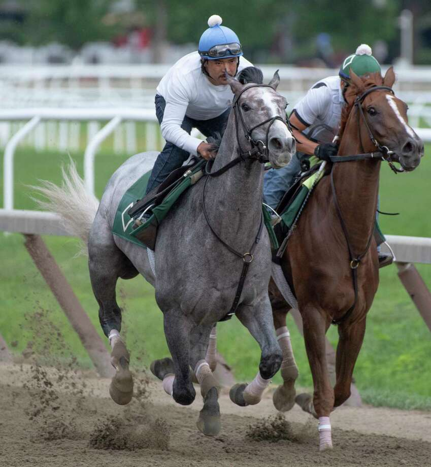 Tacitus, left, works in company on the Oklahoma Training Center Track July 22, 2019 in Saratoga Springs, N.Y.  Photo Special to the Times Union by Skip Dickstein