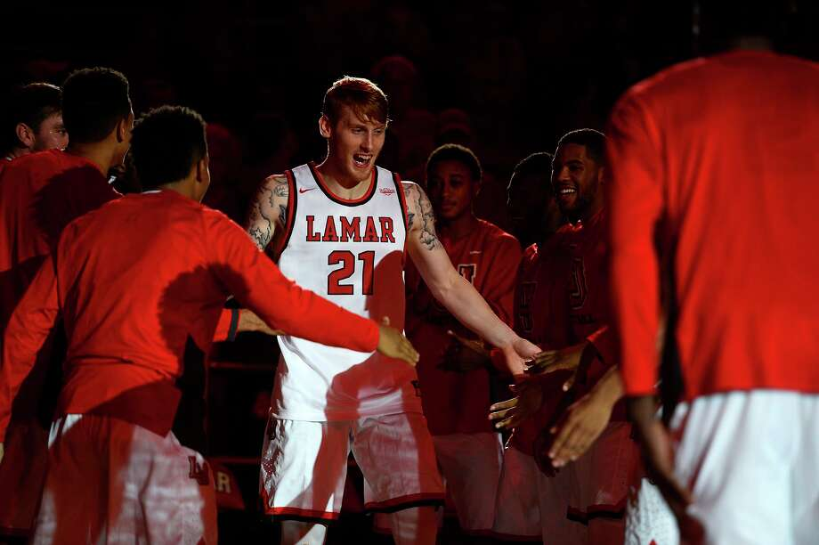 Lamar forward Colton Weisbrod is introduced with the starting lineup before playing UTSA on Tuesday night.  Photo taken Tuesday 11/22/16 Ryan Pelham/The Enterprise Photo: Ryan Pelham / Ryan Pelham/The Enterprise / ©2016 The Beaumont Enterprise/Ryan Pelham