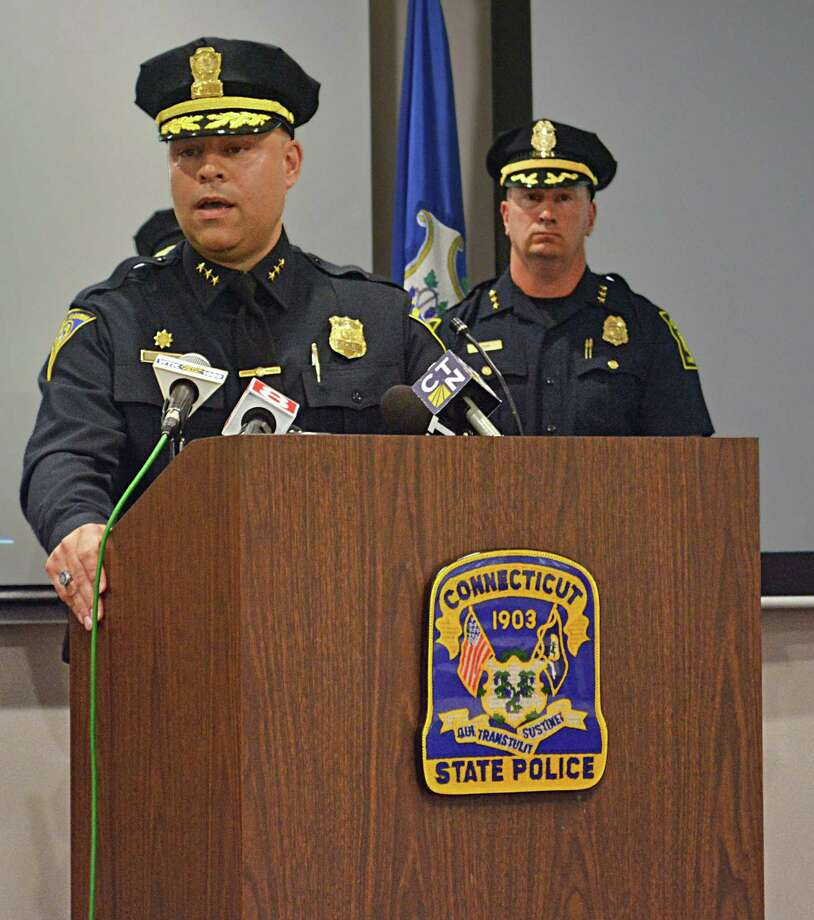 New Haven Chief of Police Tony Reyes, left, speaks to the media as Hartford Police Chief Jason Rosado looks on during a press conference Tuesday afternoon at Connecticut State Police headquarters in Middletown. Photo: Cassandra Day / Hearst Connecticut Media