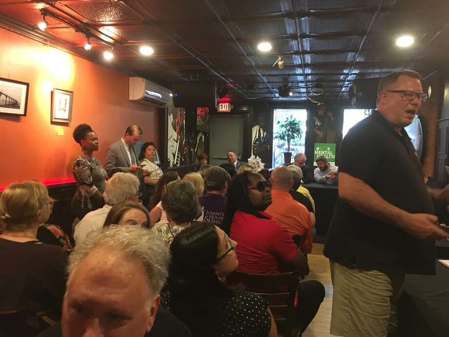 Savoy Taproom on Lark Street hosted a forum on Tuesday, July 23, 2019 with Albany city officials and advocates to discuss homelessness and how it impacts their business and the community. (Wendy Liberatore / Times Union) Photo: Wendy Liberatore, Times Union