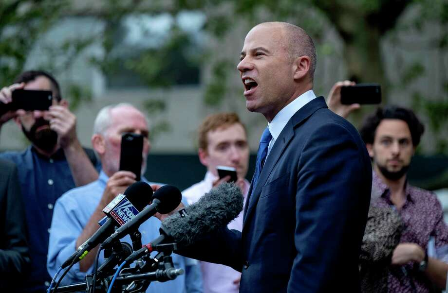 California attorney Michael Avenatti makes a statement to the press after leaving a courthouse in New York Tuesday, July 23, 2019. Avenatti is accused of cheating porn star Stormy Daniels out of $300,000 in a book deal. (AP Photo/Craig Ruttle) Photo: Craig Ruttle / Copyright The Associated Press 2019