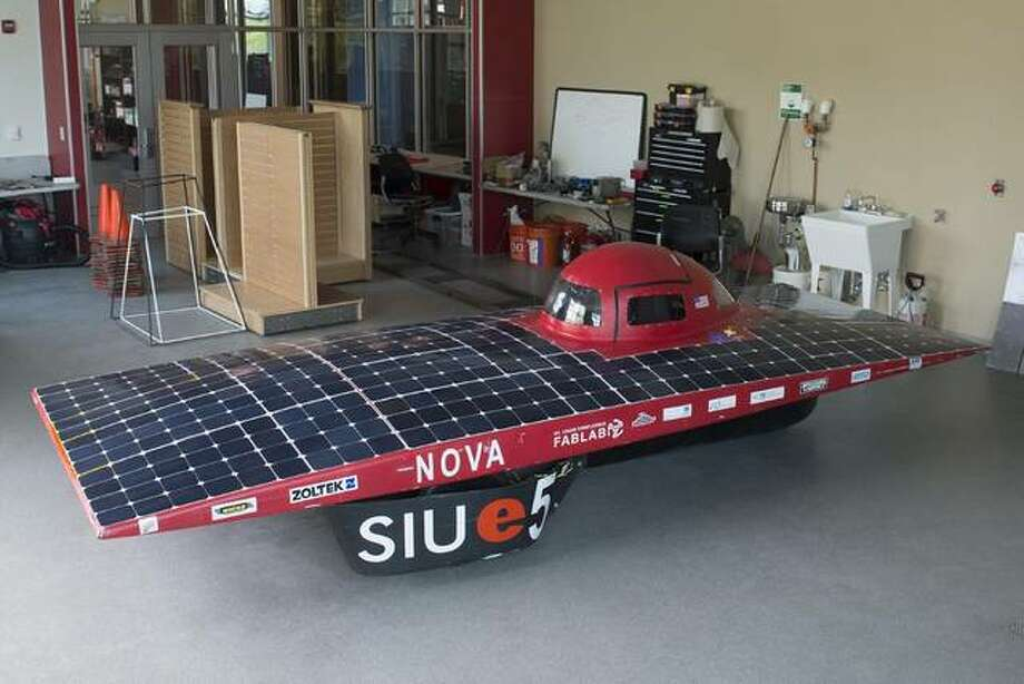 The Southern Illinois University Edwardsville School of Engineering's (SOE) solar car team received the battery pack design award at the 2019 Formula Sun Grand Prix (FSGP) in Austin, Texas. The SIUE team presented its 3-wheeler, which was grandfathered in for the last year for such models. SIUE was the only car in this category. Photo: Courtesy Of SIUE