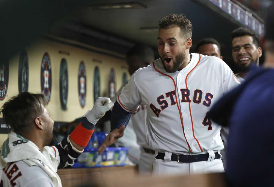PHOTOS: Astros nicknames on their 2019 Players' Weekend jerseys  Houston Astros Yuli Gurriel (10) celebrates with George Springer (4) after his two-run inside-the-park home run during the second inning of an MLB baseball game at Minute Maid Park, Tuesday, July 23, 2019. >>>See the nicknames for each Houston Astros player on the back of their jerseys for Players' Weekend on Aug. 23-25, 2019 ...  Photo: Karen Warren/Staff Photographer