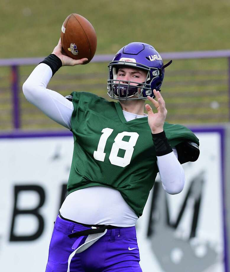 University at Albany quarterback Jeff Undercuffler passes the ball during spring football practice at Casey Stadium on Tuesday, April 2, 2019 in Albany, N.Y. (Lori Van Buren/Times Union) Photo: Lori Van Buren / 40046554A