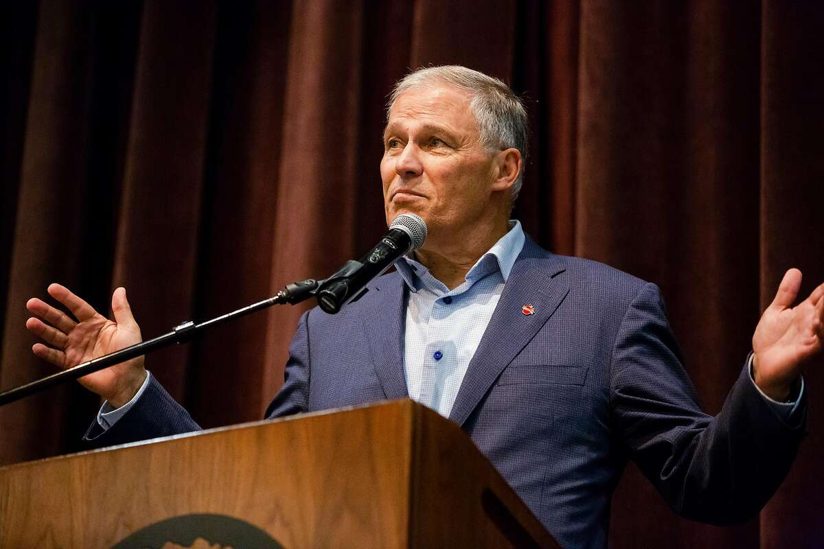 Washington Gov. Jay Inslee, a long shot candidate for president, speaks to the Rossmoor Democratic Club in Walnut Creek, Calif. on Tuesday, July 23, 2019.