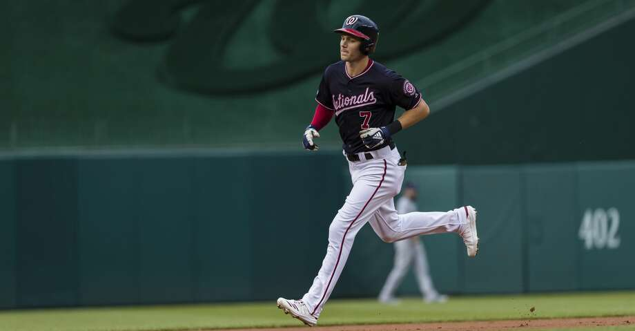 WASHINGTON, DC - JULY 23: Trea Turner #7 of the Washington Nationals rounds the bases after hitting a home run against the Colorado Rockies during the first inning at Nationals Park on June 23, 2019 in Washington, DC. (Photo by Scott Taetsch/Getty Images) Photo: Scott Taetsch/Getty Images