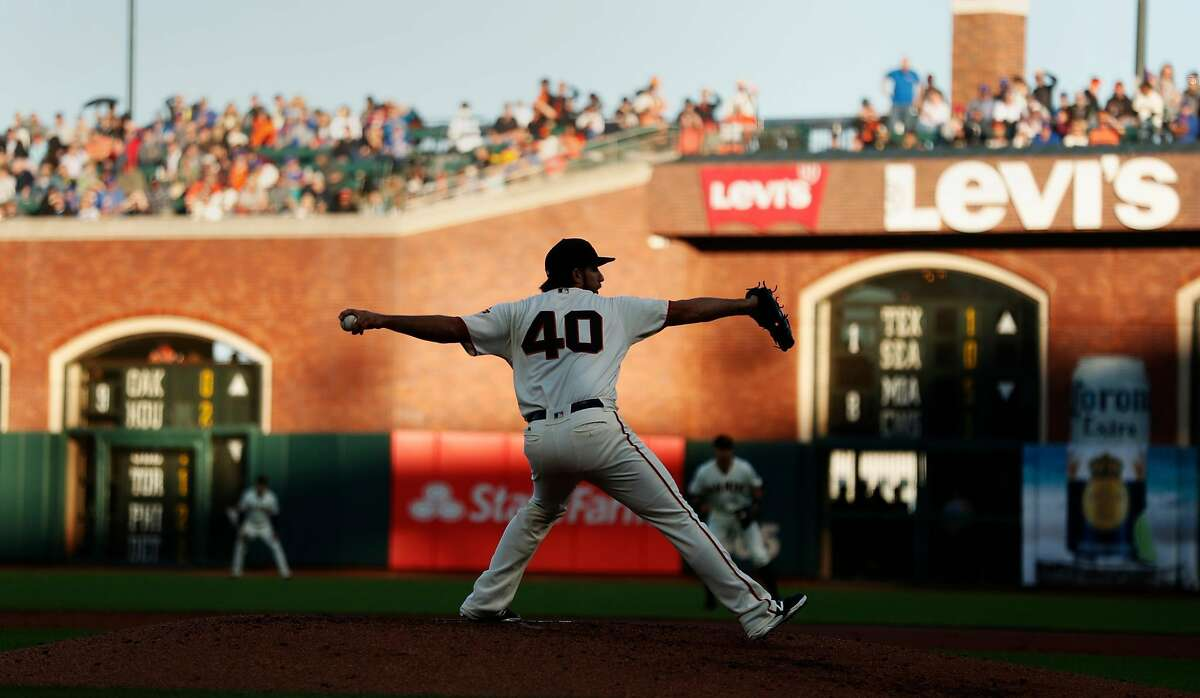 San Francisco Giants' Madison Bumgarner pitches in 3rd inning against Chicago Cubs during MLB game at Oracle Park in San Francisco, Calif., on Tuesday, July 23, 2019.