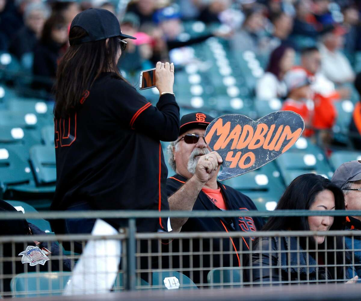 San Francisco Giants' fans with Madison Bumgarner sign before Giants play Chicago Cubs during MLB game at Oracle Park in San Francisco, Calif., on Tuesday, July 23, 2019.