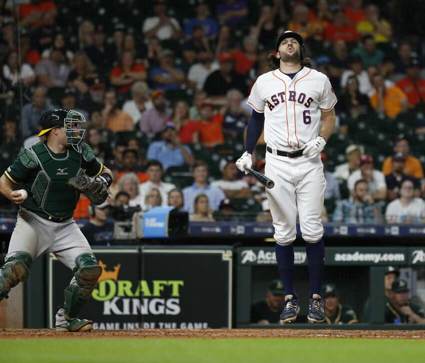 Houston Astros Jake Marisnick (6) reacts after striking out during the eleventh inning of an MLB baseball game at Minute Maid Park, Tuesday, July 23, 2019.