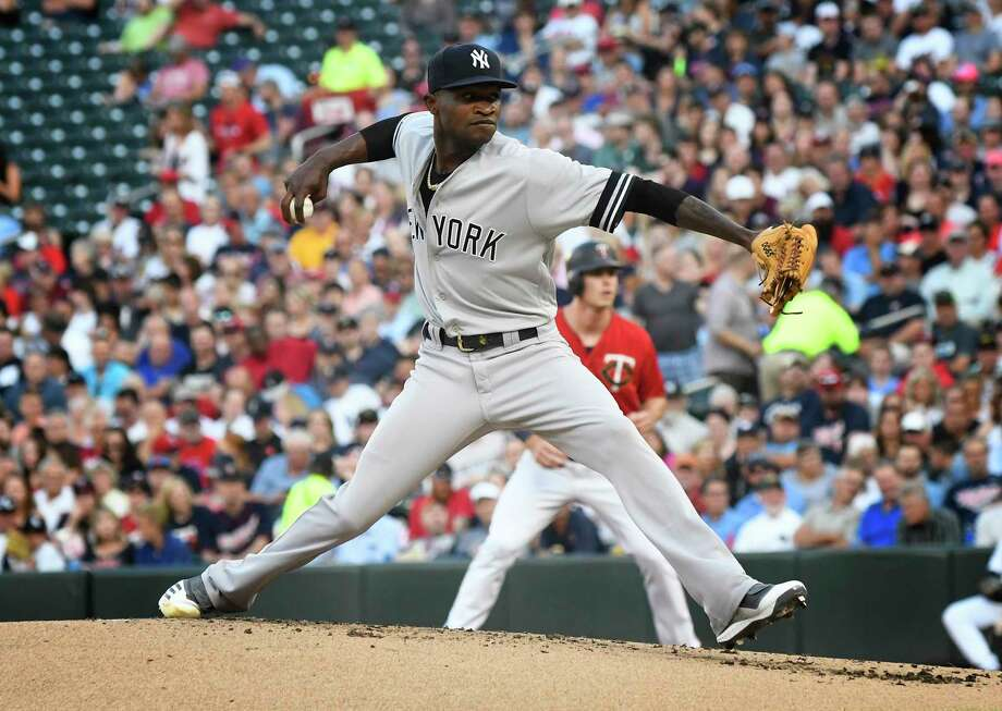 New York Yankees pitcher Domingo German throws against the Minnesota Twins in the first inning of a baseball game, Tuesday, July 23, 2019, in Minneapolis. (AP Photo/Tom Olmscheid) Photo: Tom Olmscheid / Copyright (2019) The Associated Press. All right reserved
