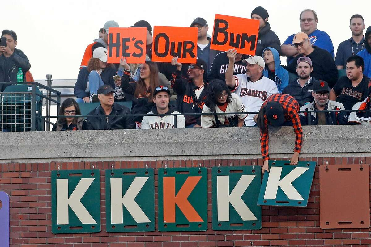 San Francisco Giants' fans react after Madison Bumgarner struck out Chicago Cubs' Kris Bryant in 6th inning during MLB game at Oracle Park in San Francisco, Calif., on Tuesday, July 23, 2019.