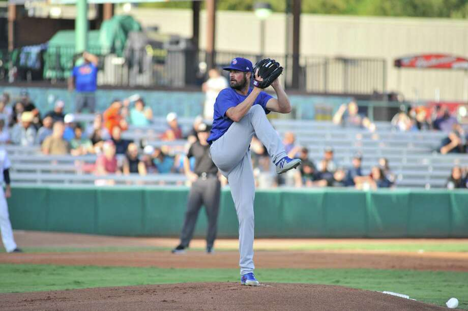 Cole Hamels, on a rehab assignment for the Chicago Cubs, started for Iowa on Tuesday and pitched 21/3 scoreless innings. He was pulled in the third after hitting his 40-pitch limit. Photo: Reynaldo Holguin /San Antonio Missions / (c)RAHolguin Photography