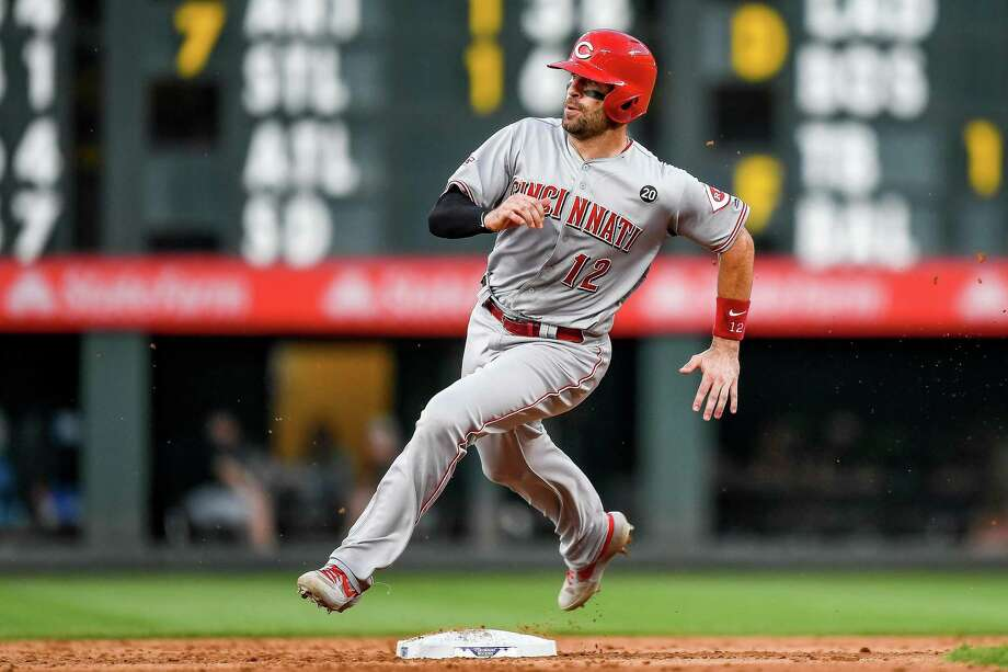 Curt Casali of the Cincinnati Reds rounds second on his way to scoring a sixth-inning run against the Colorado Rockies at Coors Field on July 12, 2019 in Denver. Photo: Dustin Bradford / Getty Images / 2019 Getty Images