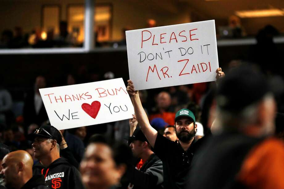 San Francisco Giants' fans hold up signs in favor of keeping Madison Bumgarner during MLB game against  Chicago Cubs at Oracle Park in San Francisco, Calif., on Tuesday, July 23, 2019. Photo: Scott Strazzante, The Chronicle