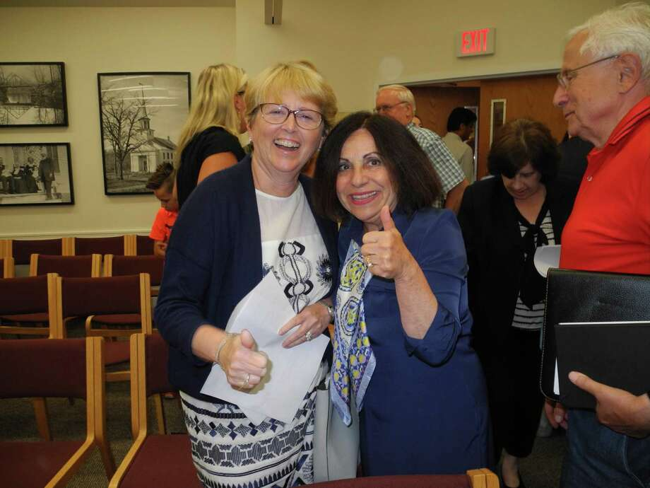 Lynne Vanderslice, left, and Toni Boucher give a thumbs-up following Vanderslice winning the Republican nomination for first selectman. Photo: Jeannette Ross / Hearst Connecticut Media / Wilton Bulletin