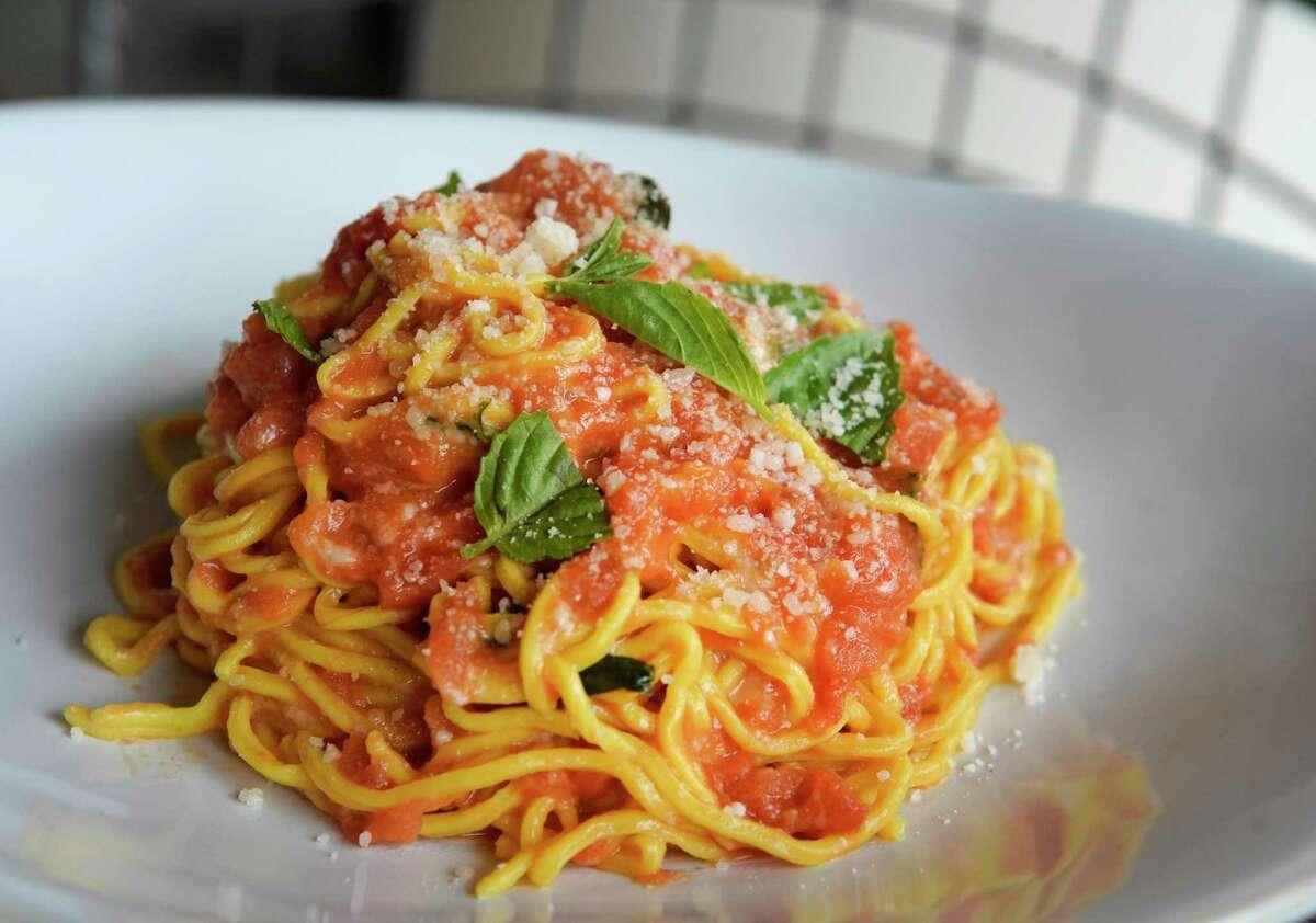 Spaghetti with San Marzano tomato sauce at BOH Pasta at Bravery Chef Hall.