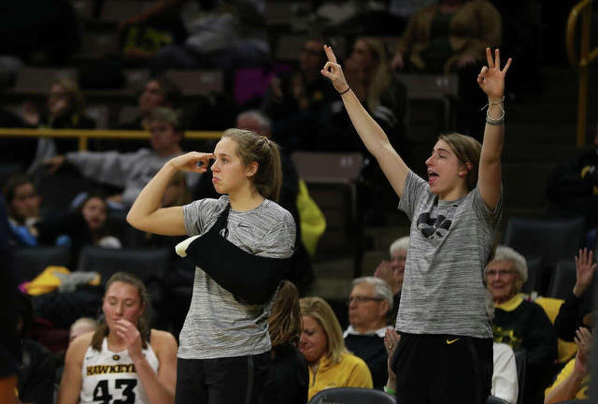 Iowa Hawkeyes guard Kathleen Doyle (22) and guard Kate Martin (20) against Oral Roberts University Friday, November 9, 2018, at Carver-Hawkeye Arena.
