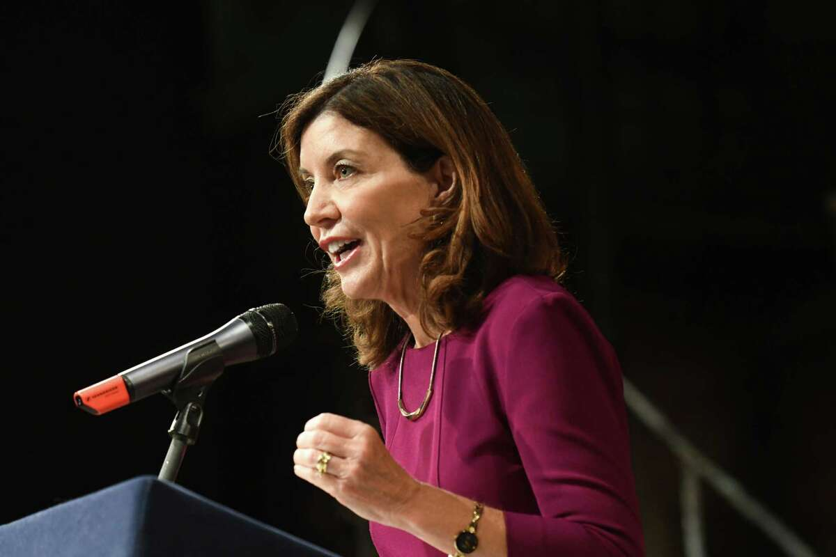 Lt. Gov. Kathy Hochul announces funding for a downtown revitalization initiative project on Wednesday, July 24, 2019, at the Capital Repertory Theatre in Albany, N.Y. (Will Waldron/Times Union)