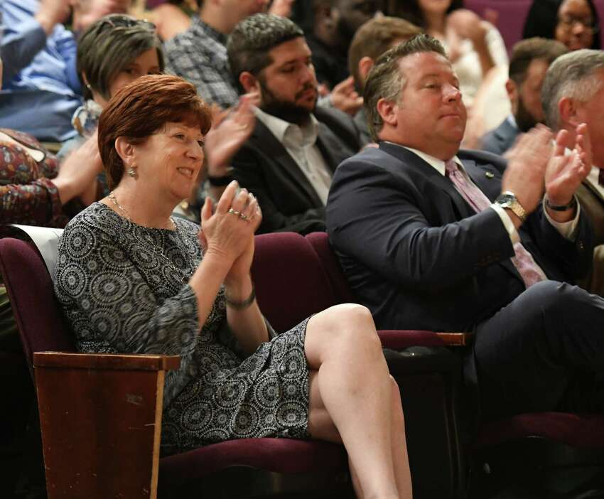Albany Mayor Kathy Sheehan and Albany County Executive Dan McCoy applaud Lt. Gov. Kathy Hochul as she announces funding for a downtown revitalization initiative project on Wednesday, July 24, 2019, at the Capital Repertory Theatre in Albany, N.Y. (Will Waldron/Times Union)