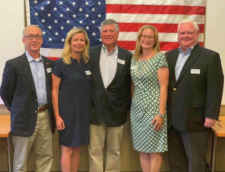 Darien Democratic Caucus 2019. From left, David Martin, Tara Ochman, Dan Bumgardner, Sarah Neumann, George Reilly Photo: Contributed Photo / Connecticut Post