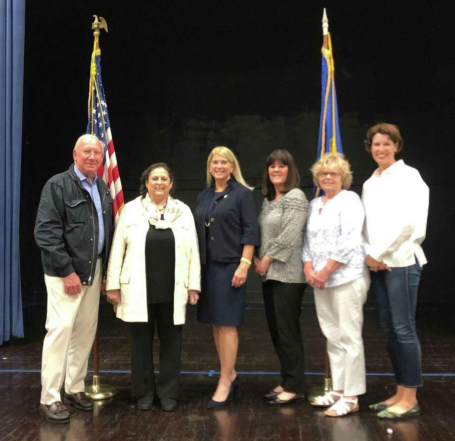 Republican Town Party 2019. From left, Kip Koons, Joan Hendrickson, Jayme Stevenson, Kathleen Larkins, Caryn Diller, D. Jill McCammon Photo: Contributed Photo / / Connecticut Post