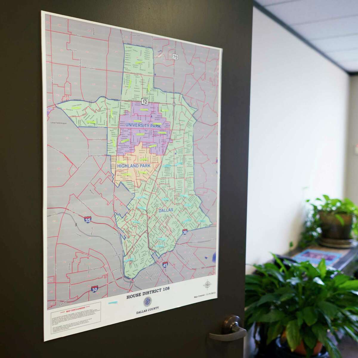 **EMBARGO: No electronic distribution, Web posting or street sales before Friday 3:01 a.m. ET July 05, 2019. No exceptions for any reasons. EMBARGO set by source.** A map of Texas House district No. 108 hangs on the door at the campaign offices of Tom Ervin, who is one of three Democrats campaigning for a Dallas-based State House district that is up for election in 2020, in Dallas, July 2, 2019. With the nation?•s political maps hanging in the balance, Democrats are racing to win back statehouse chambers and Republicans are rushing to defend gains from 2010. (Allison V. Smith/The New York Times)