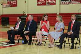 Board of Education candidates Danile LaGattuta, Bob Naughton, Julia Mackle Reeves, Suzanne Harrison and Carl Gardiner are introduced by state Rep. Tom O'Dea at the New Canaan Republican Caucus on Tuesday, July 16, at New Canaan High School. Gardiner, Naughton and Mackle Reeves won the three nominations up for grabs.