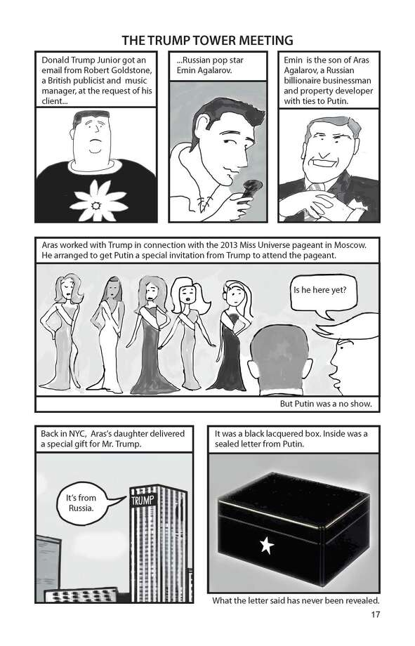 A page from volume one of Barbara Slate's graphic-novel adaptation of the Mueller Report (image courtesy Barbara Slate)