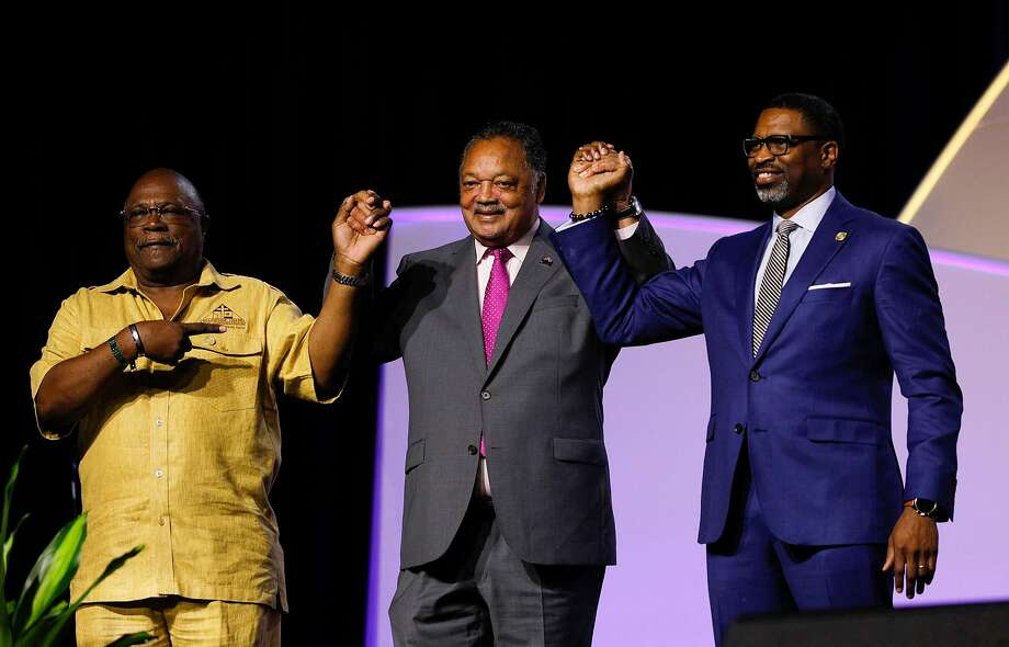 DETROIT, MI - JULY 24: Rev. Jesse Jackson (center) attends and speaks at the NAACP 110th National Convention on July 24, 2019 in Detroit, Michigan. The theme of this years Convention is, When We Fight, We Win. (Photo by Bill Pugliano/Getty Images) Photo: Bill Pugliano / Getty Images