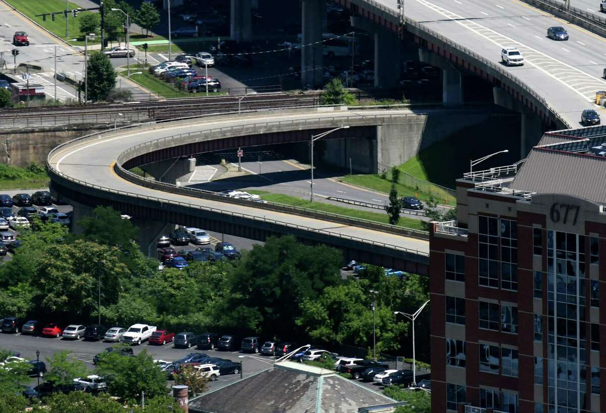 View of the I-787 northbound ramp exit at Quay Street on Wednesday, July 24, 2019, in Albany, N.Y. The ramp is the site of Albany's proposed skyway, a linear park with pathways for pedestrians and bicyclists, plus landscaping and places to sit. (Will Waldron/Times Union)